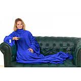 Плед Snuggie с рукавами флисовый синий(теплый рукоплед Снагги)., фото 2