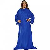 Плед Snuggie с рукавами флисовый синий(теплый рукоплед Снагги)., фото 4