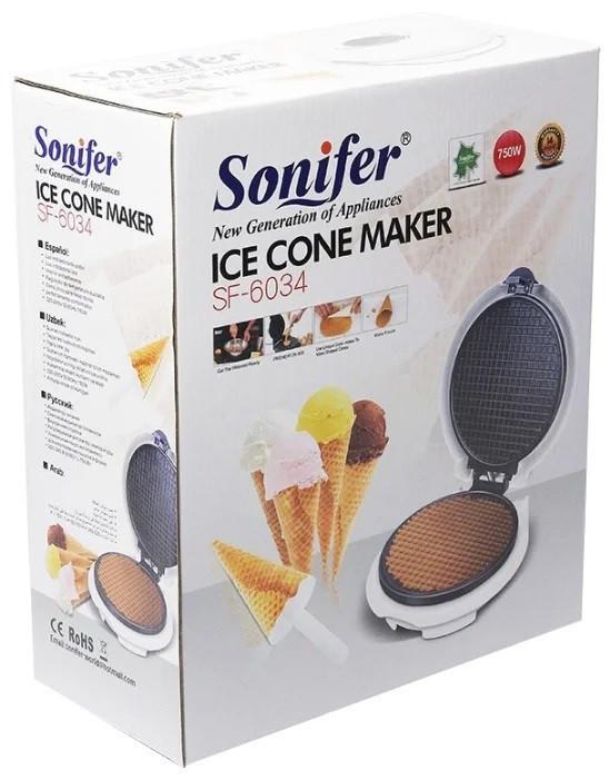 Вафельница для тонких вафель, рожков, трубочек Sonifer SF-6034 с регулировкой мощности .