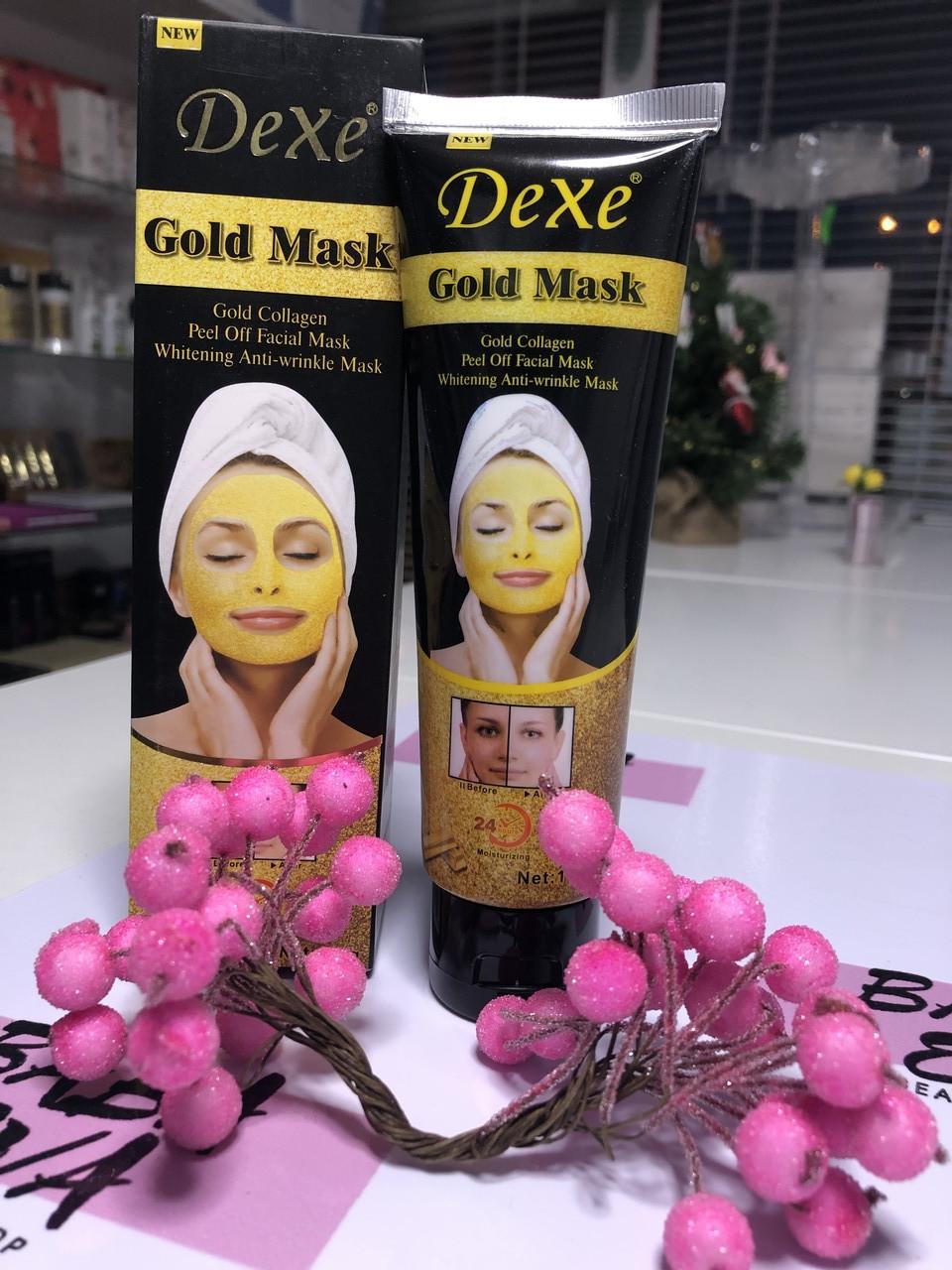Золотая омолаживающая маска для лица DEXE 24k GOLD MASK 120g маска от морщин.