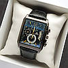 Прямокутні чоловічі наручні годинники репліка Orient чорного кольору на шкіряному ремінці - код 1798