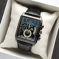 Прямокутні чоловічі наручні годинники репліка Orient чорного кольору на шкіряному ремінці - код 1798, фото 1