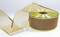 """Новогодняя лента 6см золотая""""сетка"""" с проволочным краем на метраж, фото 1"""