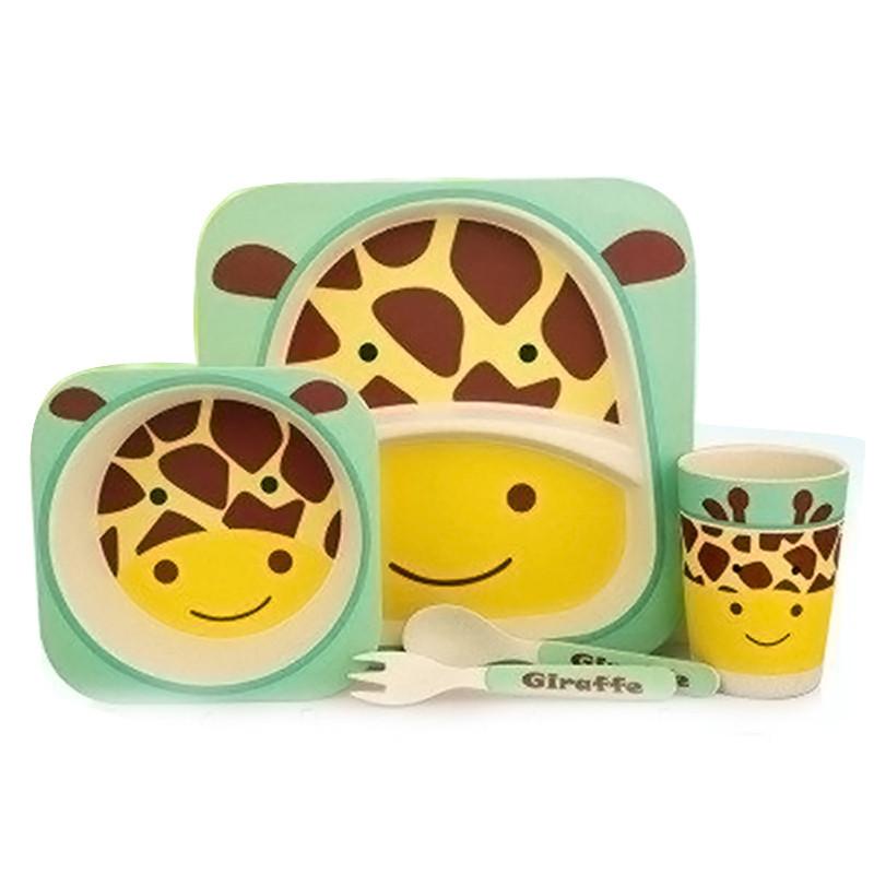 Набор детской бамбуковой посуды жираф Eco Bamboo fibre kids set 5.