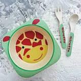Набор детской бамбуковой посуды жираф Eco Bamboo fibre kids set 5., фото 3