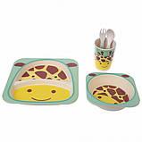 Набор детской бамбуковой посуды жираф Eco Bamboo fibre kids set 5., фото 4