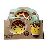 Набор детской бамбуковой посуды жираф Eco Bamboo fibre kids set 5., фото 5