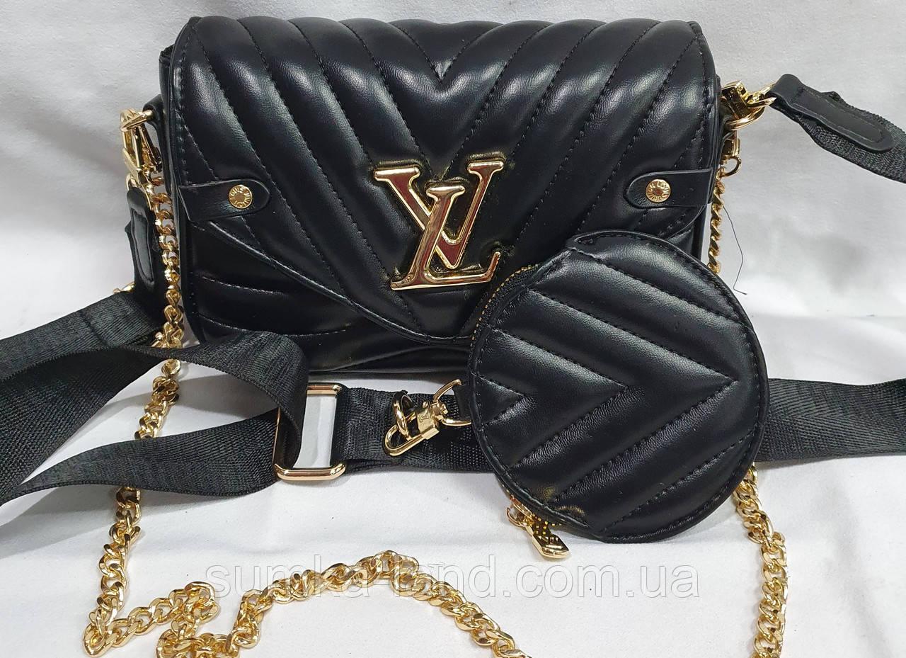 Женский черный клатч LV с кошельком, с сертификатом качества 20*13 см