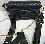 Женский черный клатч LV с кошельком, с сертификатом качества 20*13 см, фото 4