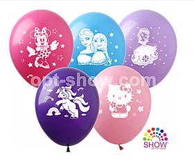 """Латексные шары с рисунком """"Мультяшки для девочек"""" 12'' (100 ШТ) ТМ SHOW (30 СМ)"""