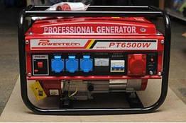 Бензиновый генератор Powertech PT6500WE 4.5 Кв 3-х фазный электростартер