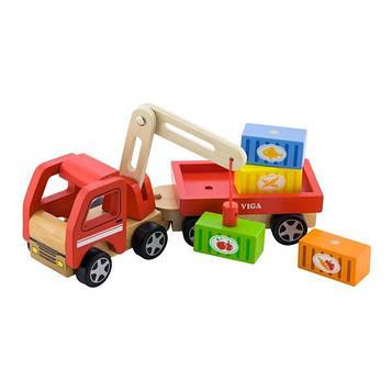 Дерев'яна машинка Viga Toys Автокран цікава хлопчикам преддошкольного віку від 18 місяців (SV)