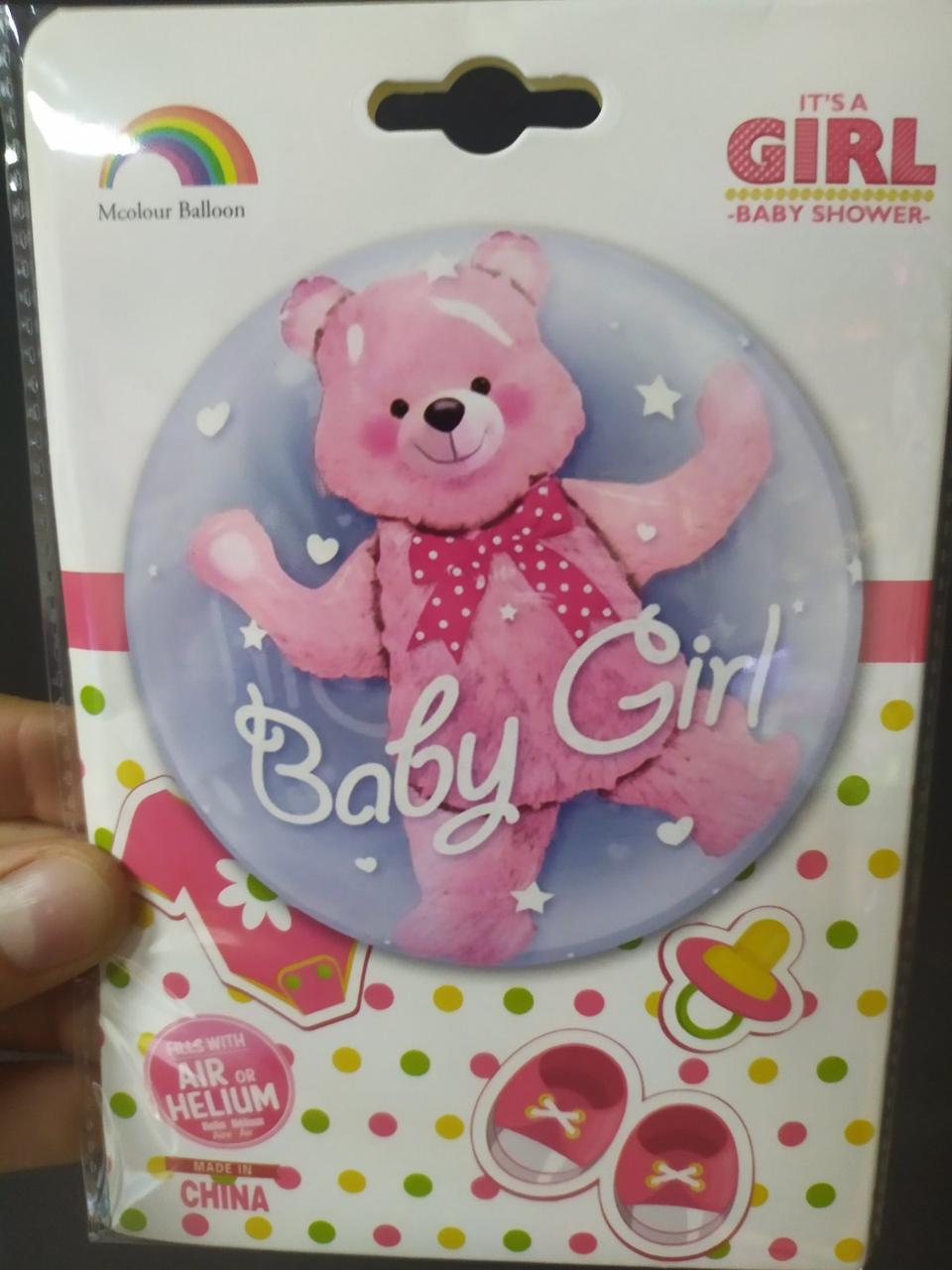 """Кулька Bubble 24"""" Baby Girl з кулькою ведмедиком Китай упаковка"""