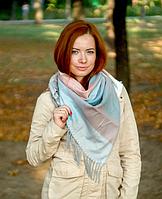 Теплый платок в клетку Милания 100*105 см пудра/бирюза, фото 1