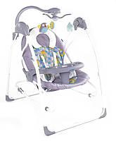 Электронные качели шезлонг для младенцев 3 в 1 JOY с каруселью и музыкой серые с пультом д/у от 0 месяцев