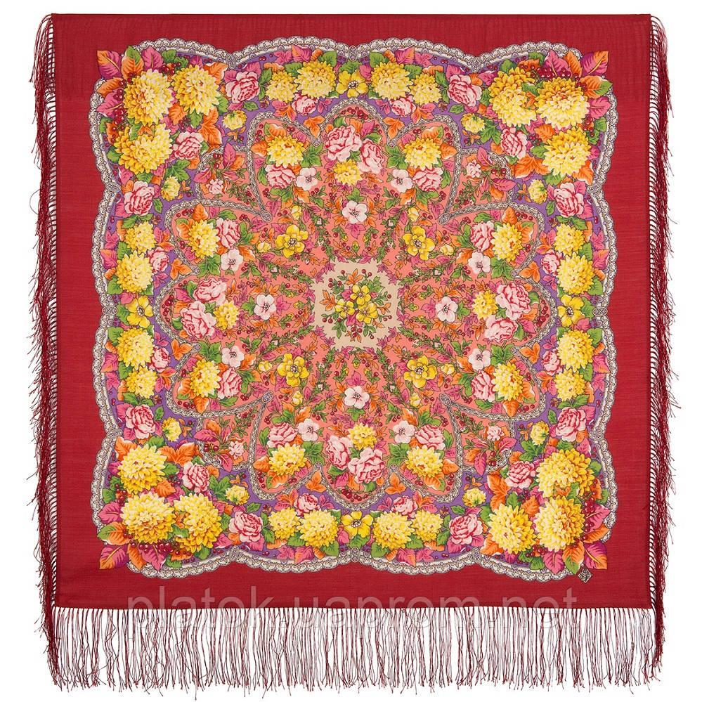 Восходящее солнце 1920-5, павлопосадский платок шерстяной  с шелковой бахромой