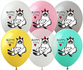 """Латексные шары с рисунком """"Happy Birthday"""" 12'' (100 ШТ) ТМ SHOW (30 СМ)"""