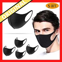 Набор 5 шт Многоразовая маска Питта Черный