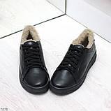 Удобные повседневные черные женские зимние кеды из натуральной кожи 36-23,5см, фото 2