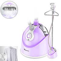 Бытовой вертикальный отпариватель для одежды Domotec 5350 со стойкой и вешалкой 2000Вт Фиолетовый
