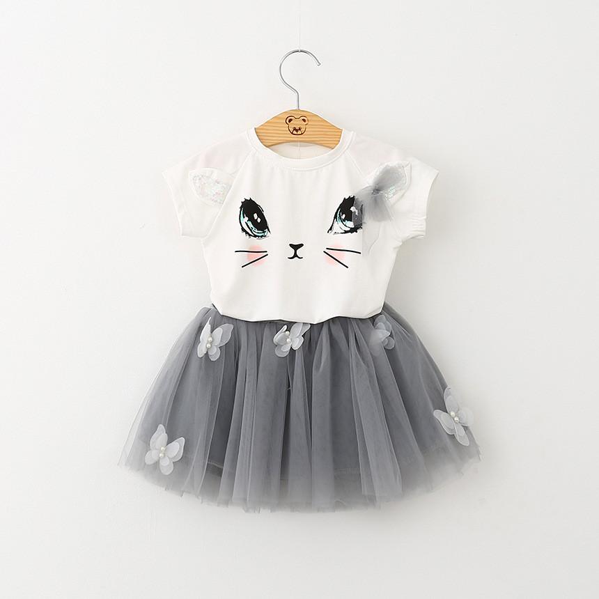 Детский костюм, футболка кошечка, пышная фатиновая юбка