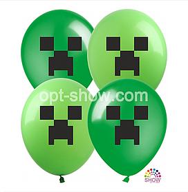 """Латексные шары с рисунком """"Майнкрафт"""" 12'' (100 ШТ) ТМ SHOW (30 СМ)"""
