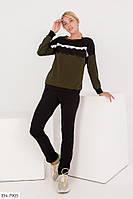 Оригинальный красивый спортивный костюм из креп дайвинга с кружевом Размер: 42, 44, 46 арт.601