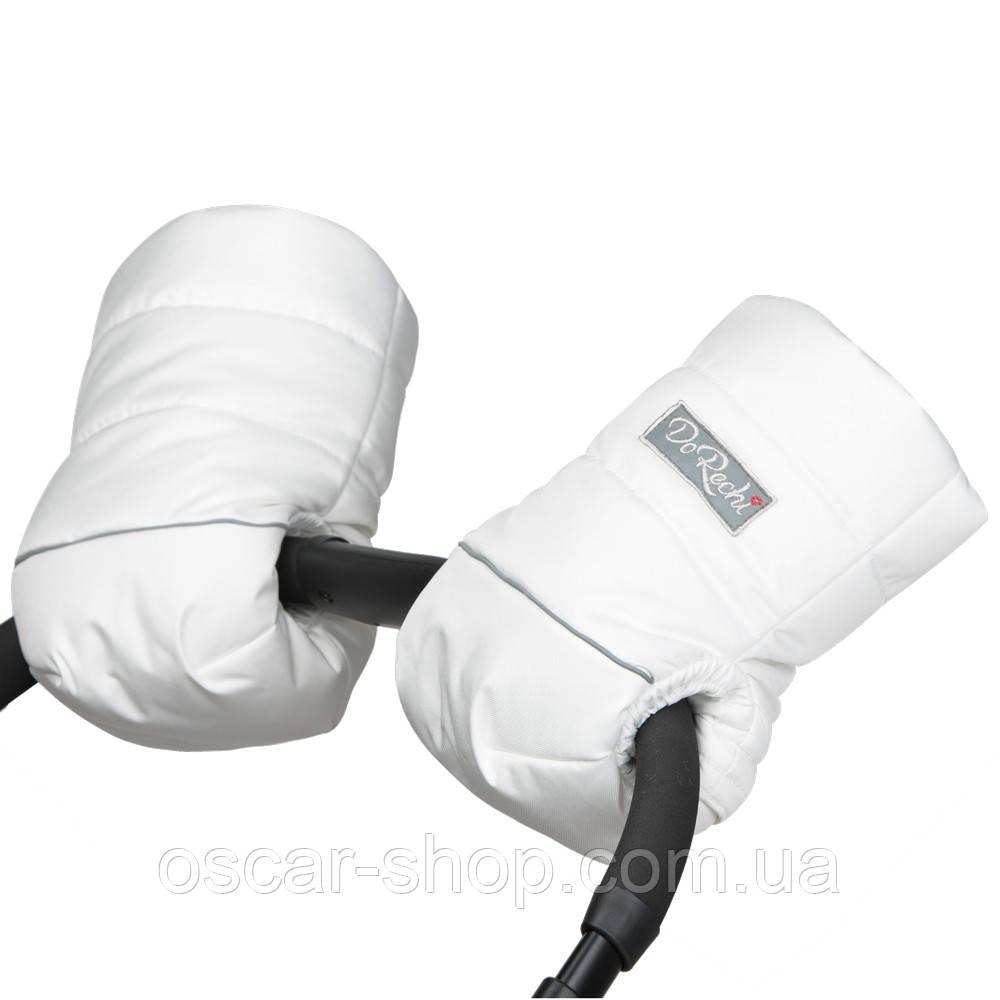 Муфта-рукавици на флісі на коляску біла