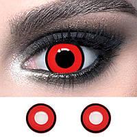 Червоні контактні лінзи з чорним обідком ELITE Lens Red ободок 14,5 мм. для косплею вампіра та на Хелловін
