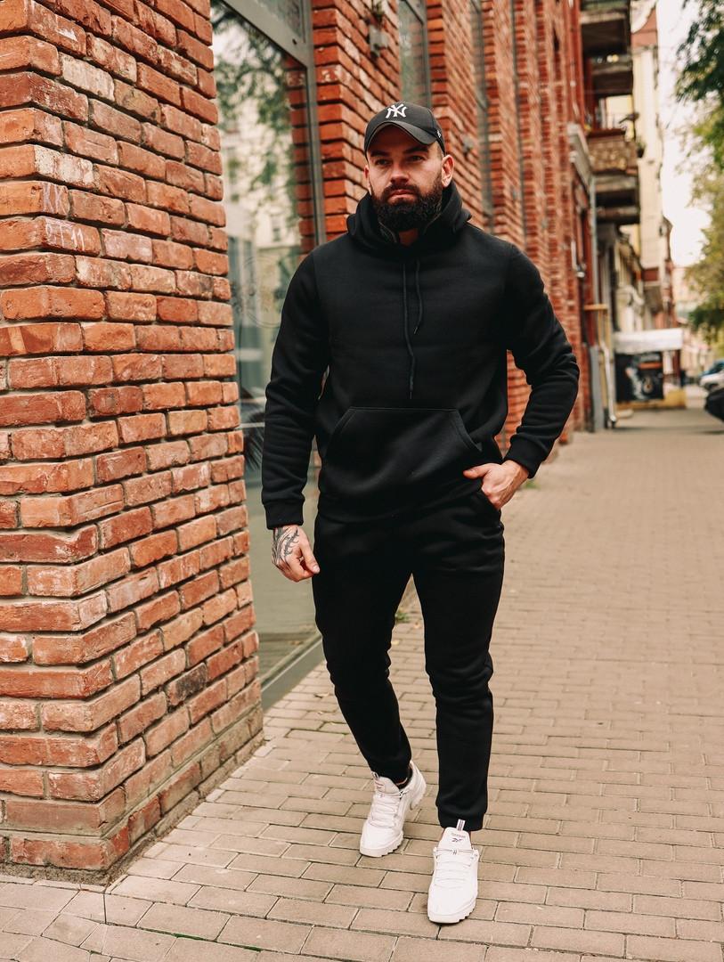 Чоловічий спортивний костюм теплий чорний з капюшоном