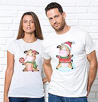 Парные Новогодние футболки с принтом год быка