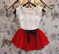Детский костюм, нежная маечка, плиссированная юбка