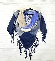 Теплый платок в клетку Милания 100*105 см синий, фото 1