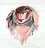 Теплый платок в клетку Милания 100*105 см пудровый + красный