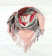 Теплый платок в клетку Милания 100*105 см пудровый + красный, фото 1