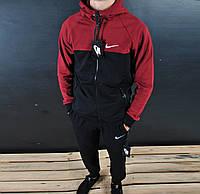 Мужской спортивный костюм в стиле Nike Black\Red на замке
