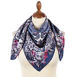 Платок шелковый 10953-14, павлопосадский платок шелковый (крепдешиновый) с подрубкой, фото 2