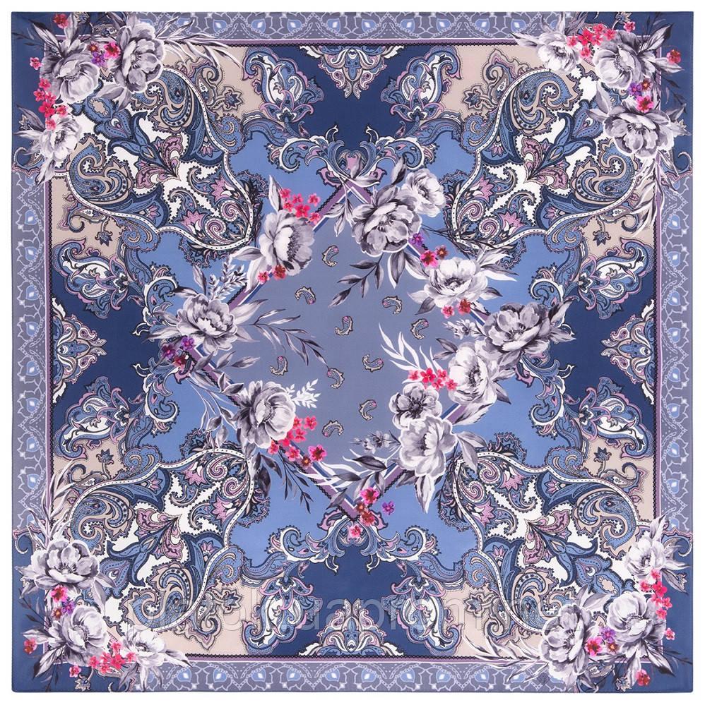 Платок шелковый 10953-14, павлопосадский платок шелковый (крепдешиновый) с подрубкой