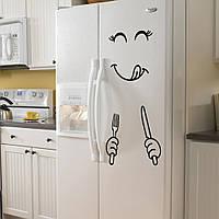 """Интерьерная наклейка на холодильник, цвет черный """"Нямка"""" 01"""