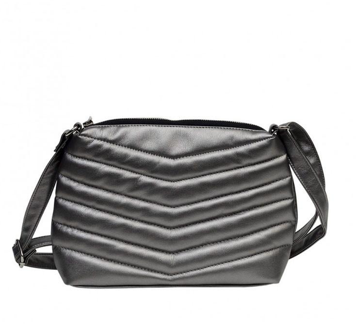 Женская сумка кросс-боди с длинным ремешком через плечо эко-кожа металлик, темное серебро