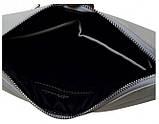 Женская сумка кросс-боди с длинным ремешком через плечо эко-кожа металлик, темное серебро, фото 3
