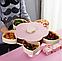 Вращающаяся тарелка-органайзер для закусок фруктов и сладкого Kitchen Boxes с подставкой под телефон, розовая, фото 2