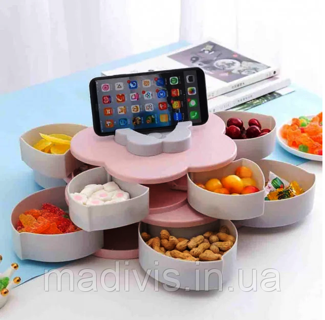 Вращающаяся тарелка-органайзер для закусок фруктов и сладкого Kitchen Boxes с подставкой под телефон, розовая