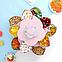 Вращающаяся тарелка-органайзер для закусок фруктов и сладкого Kitchen Boxes с подставкой под телефон, розовая, фото 4