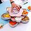 Вращающаяся тарелка-органайзер для закусок фруктов и сладкого Kitchen Boxes с подставкой под телефон, розовая, фото 3