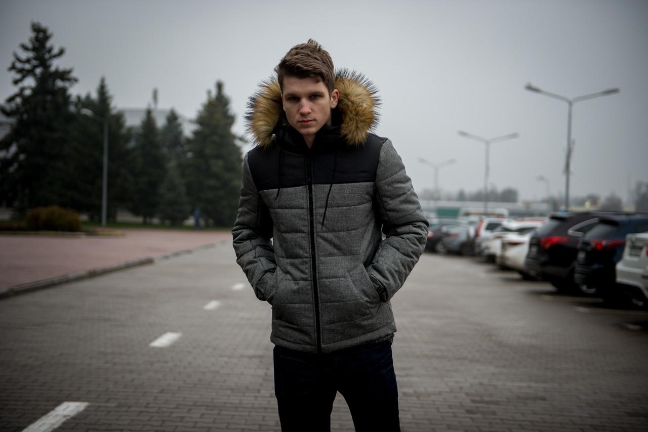 """Куртка мужская зимняя серая - черная """"Alaska"""" с мехом + подарок Перчатки"""