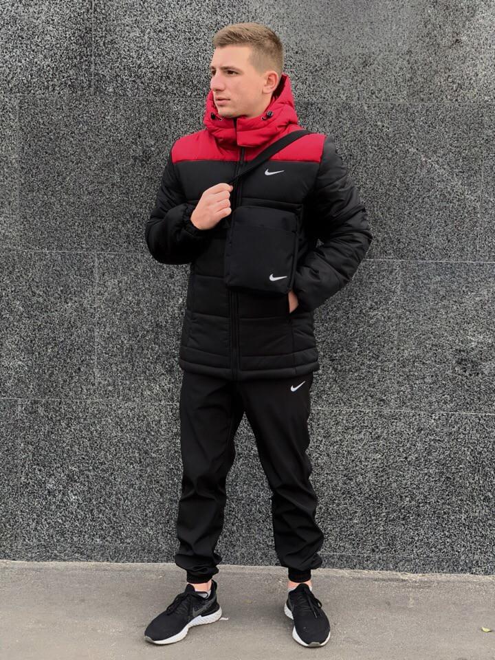 Куртка мужская Зимняя Nike + утепленные штаны найк Комплект спортивный + Барсетка и перчатки в Подарок.