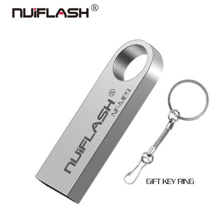 Металлическая USB флешка брелок Nuiflash 64 Gb Флэш накопитель для ноутбука и компьютера