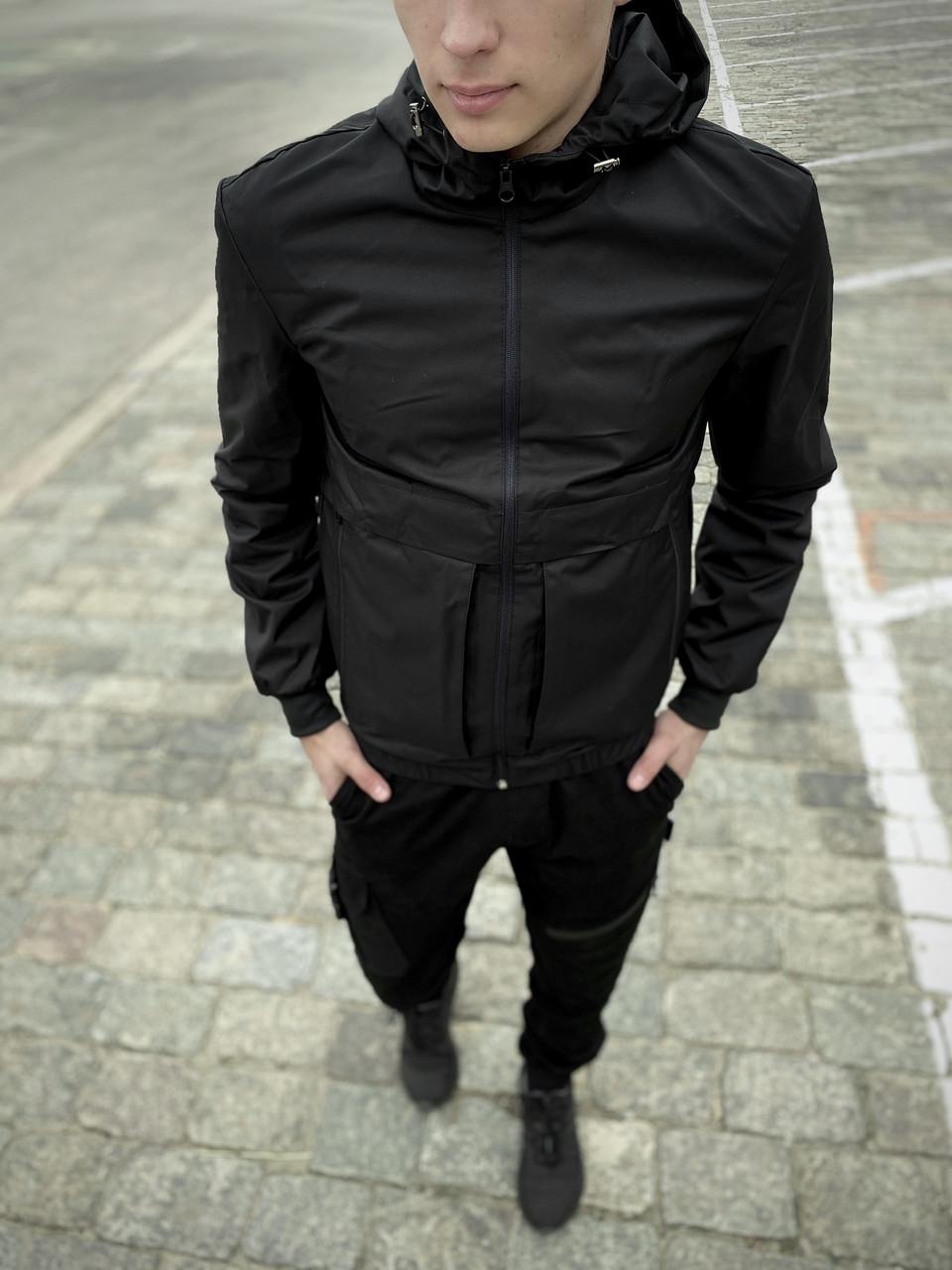 """Мужская весенняя куртка, ветровка черная Intruder """"Sprinter"""""""