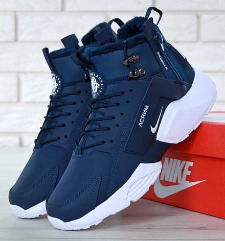 Мужские зимние кроссовки с мехом в стиле Nike Huarache Acronym Concept Blue синие, фото 2